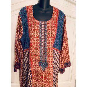 Indian Cotton Patchwork Caftan Maxidress